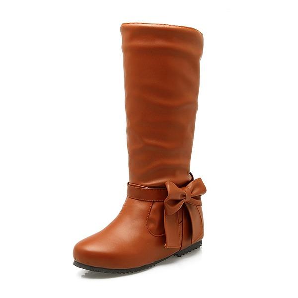 Kunstleder Niederiger Absatz Geschlossene Zehe Stiefel Kniehocher Stiefel Stiefel-Wadenlang mit Bowknot Schuhe