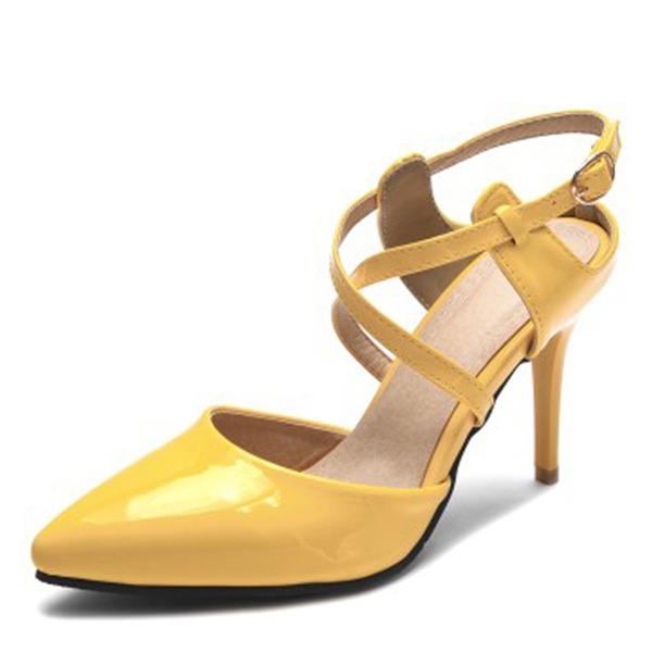 Женщины кожа Высокий тонкий каблук Сандалии На каблуках Закрытый мыс с пряжка обувь