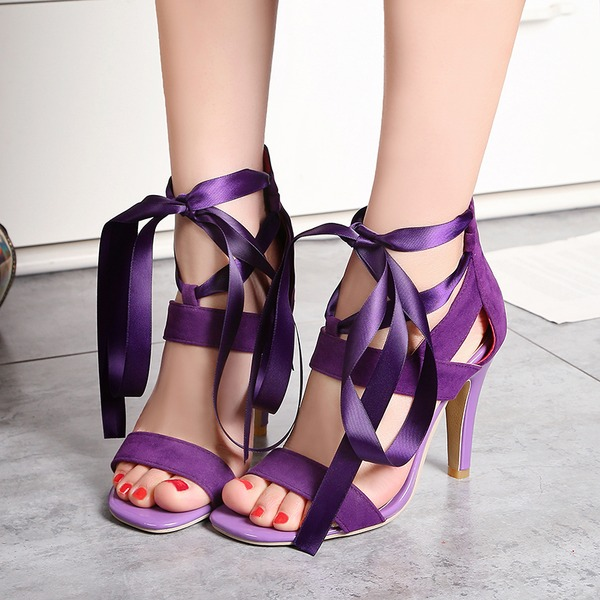 Vrouwen Kunstleer Stiletto Heel Sandalen Pumps Peep Toe met Ribbon Tie Rits Vastrijgen schoenen