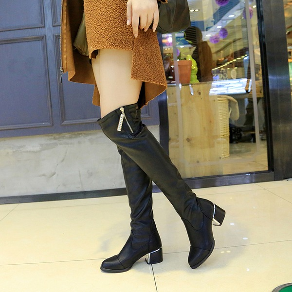 Women's Leatherette Chunky Heel Closed Toe Boots Over The Knee Boots With Rhinestone shoes