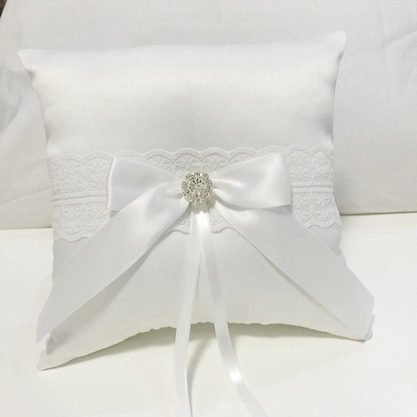 Gathered Elegance Ring Pillow in Cloth With Bow/Rhinestones/Lace