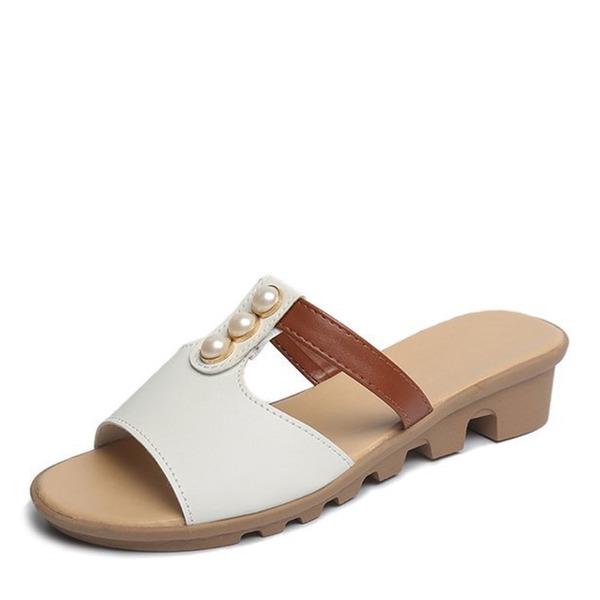 Frauen Kunstleder Flascher Absatz Sandalen Flache Schuhe Peep Toe Slingpumps Pantoffel mit Nachahmungen von Perlen Schuhe