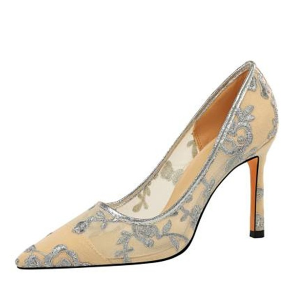Dla kobiet Tkanina mesh Obcas Stiletto Czólenka Zakryte Palce Z Tkanina Wypalana obuwie