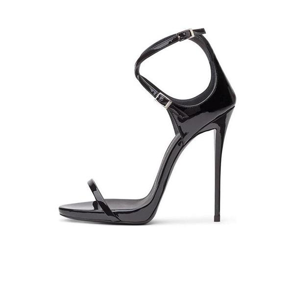 Kvinnor Lackskinn Stilettklack Sandaler Pumps Peep Toe med Spänne skor