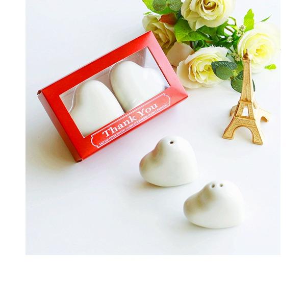 """Hjerteformede/""""Kærlighed"""" Hjerteformede/Hjertet udformning Keramik Salt & Peber Shakers (Sæt af 2)"""
