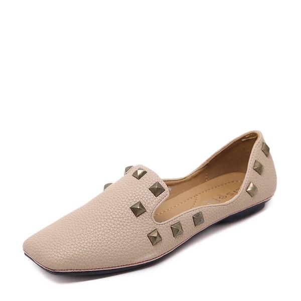 Kvinner PU Flat Hæl Flate sko Lukket Tå med Rivet sko