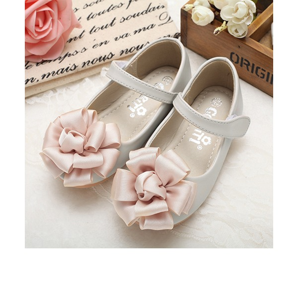 Girl's Round Toe Closed Toe Mary Jane Real Leather Flat Heel Flats Flower Girl Shoes With Flower