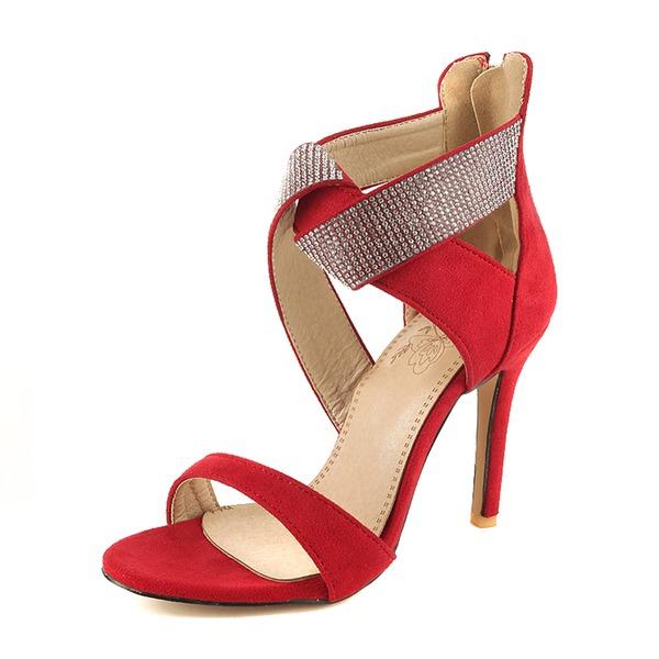 Mulheres Camurça Salto agulha Sandálias Bombas com Lantejoulas sapatos