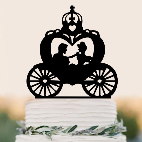 Klassiska par/Grattis På Årsdagen Akryl Tårtdekoration (Säljs i ett enda stycke)