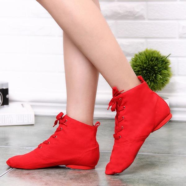 Женщины Холст Ботинки Джаз с Шнуровка Обувь для танцев