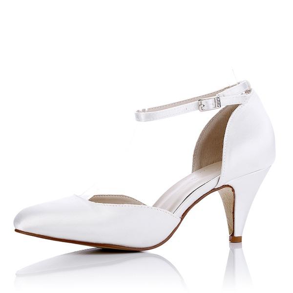 Kadın İpek Makara Topuk Pompalar Sandalet Boyanabilir ayakkabılar Ile Toka Içi boş-out
