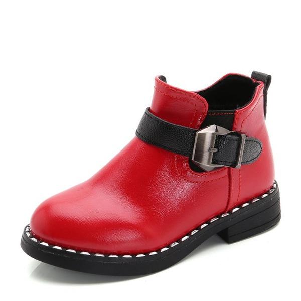 Fille de Bout fermé Bottines similicuir talon plat Chaussures plates Bottes avec Boucle Zip