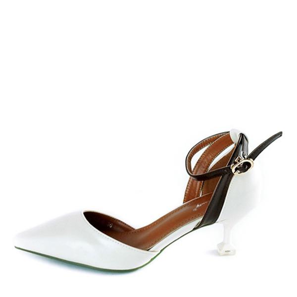 Kvinder PU Stiletto Hæl Pumps Lukket Tå med Spænde sko