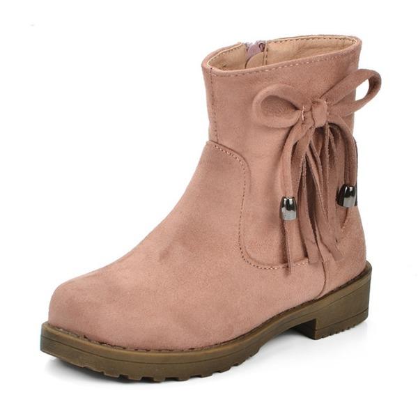 Ragazze Pelle microfibra Heel piatto Punta rotonda Stivali altezza media Stivali con Bowknot Nappa Cerniera