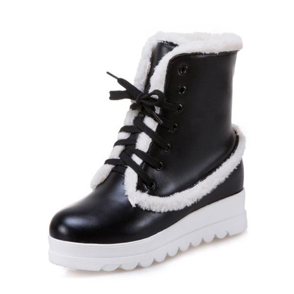 Frauen Kunstleder Keil Absatz Geschlossene Zehe Stiefel Stiefel-Wadenlang Schneestiefel mit Zuschnüren Pelz Schuhe
