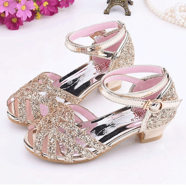 Girl's Peep Toe Leatherette Sparkling Glitter Low Heel Sandals Flower Girl Shoes