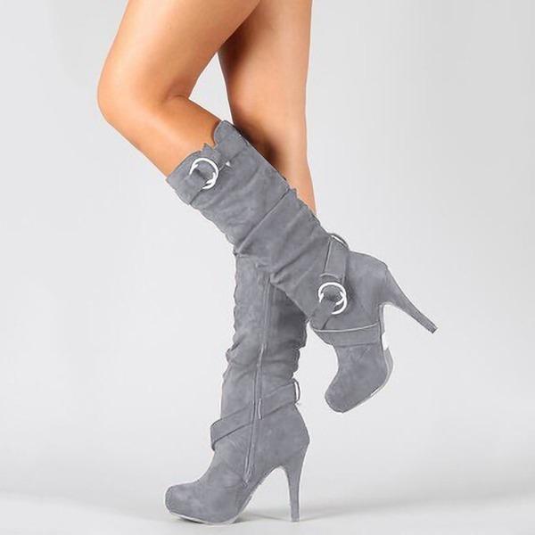 Kvinder Ruskind Stiletto Hæl Pumps Støvler med Lynlås sko