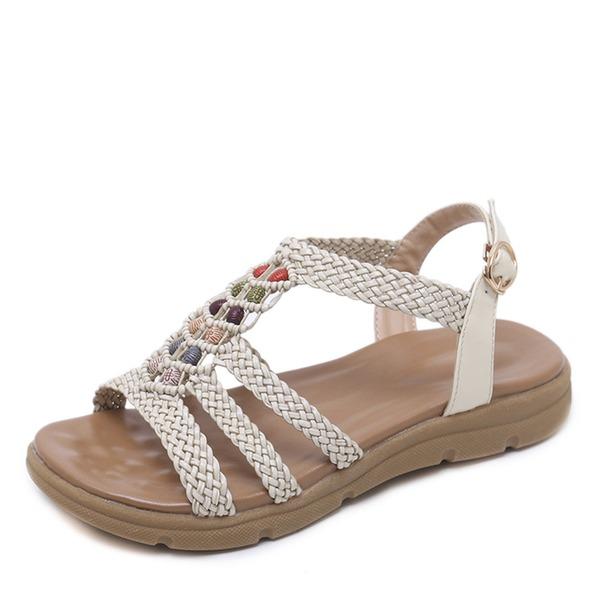 Kvinner Lær Lav Hæl Sandaler Titte Tå Slingbacks med Rhinestone sko