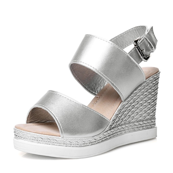 Women's PU Wedge Heel Pumps Wedges With Buckle shoes