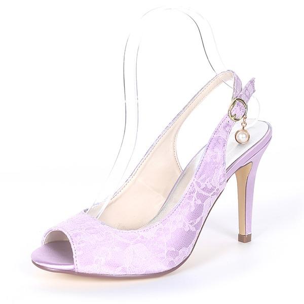 Kadın İpeksi Saten İnce Topuk Peep Toe Pompalar Sandalet Ile Toka İmitasyon İnci
