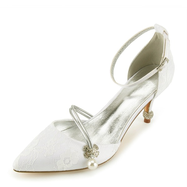 Women's Lace Leatherette Spool Heel Closed Toe Pumps Sandals With Crystal Heel Pearl