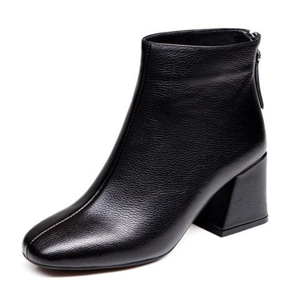 Kadın PU Kalın Topuk Kapalı Toe Bot Ayak bileği Boots Ile Fermuar ayakkabı