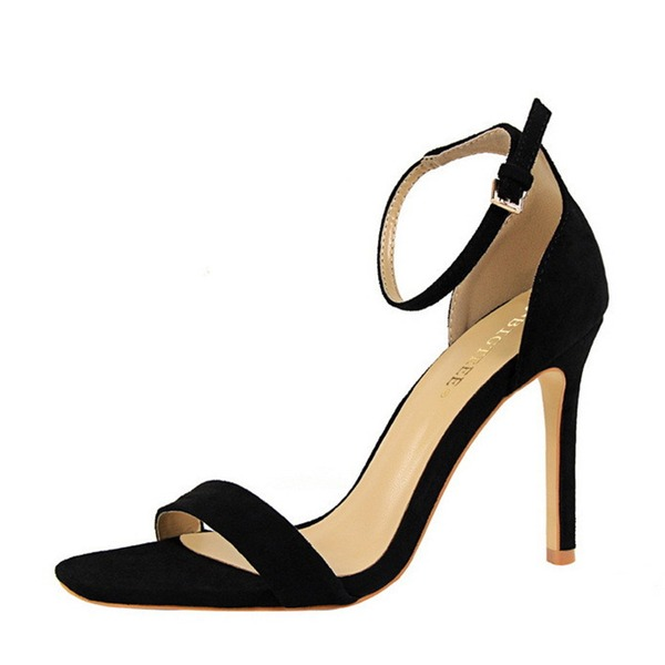 Women's Suede Stiletto Heel Peep Toe Pumps Sandals With Buckle
