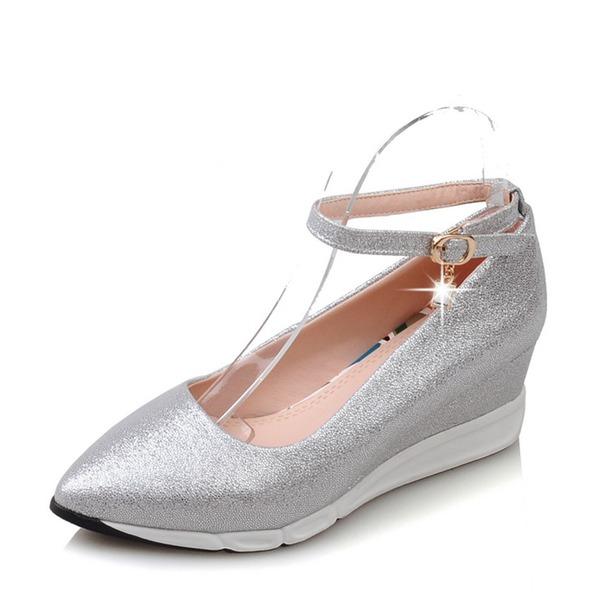Mulheres PVC Plataforma Calços com Fivela sapatos