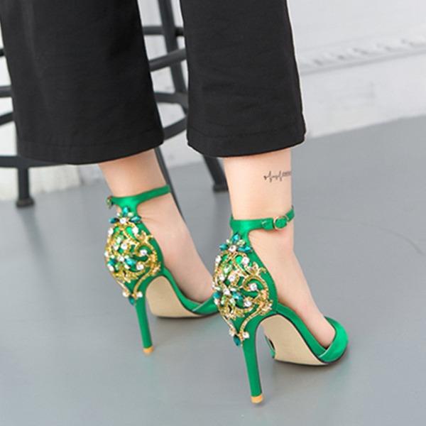 Vrouwen zijde als satijn Stiletto Heel Peep Toe Pumps Sandalen met Gesp