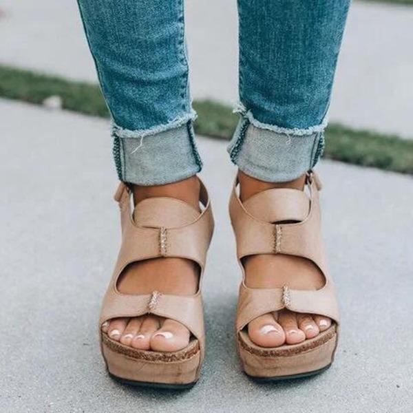 Vrouwen PU Wedge Heel Sandalen Peep Toe schoenen