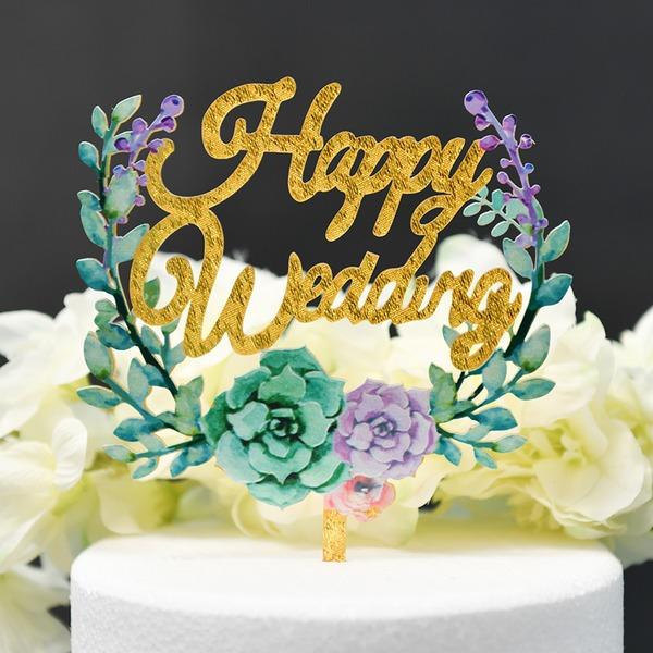 Couple classique/Une fleur/Joyeux Anniversaire Acrylique Décoration pour gâteaux (Vendu dans une seule pièce)