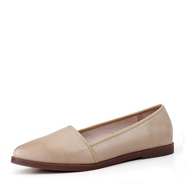 Women's Real Leather Flat Heel Flats Closed Toe shoes