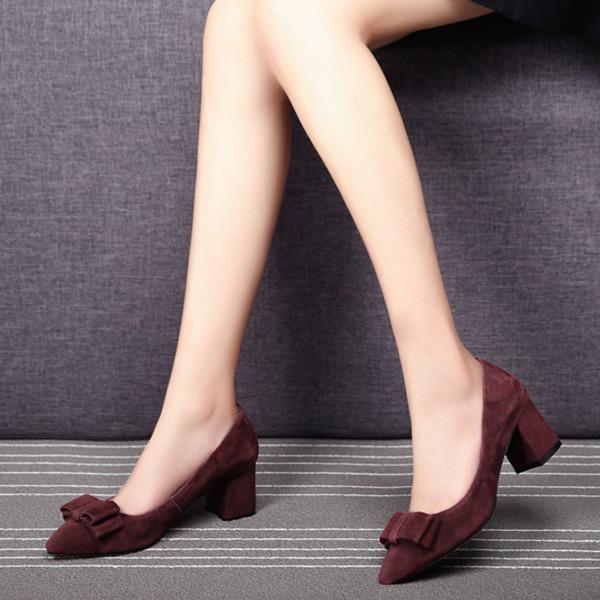 Женщины Замша Устойчивый каблук На каблуках с бантом обувь