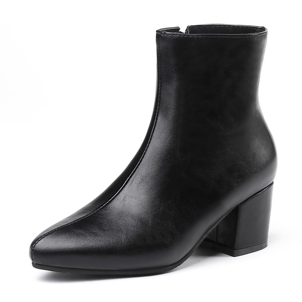 Women's Leatherette Chunky Heel Pumps Closed Toe Boots Mid-Calf Boots With Zipper shoes