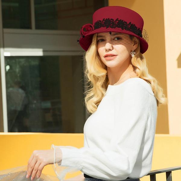 Dames Magnifique/Style Classique/Élégante Coton avec Tulle Chapeau melon / Chapeau cloche/Kentucky Derby Des Chapeaux/Chapeaux Tea Party