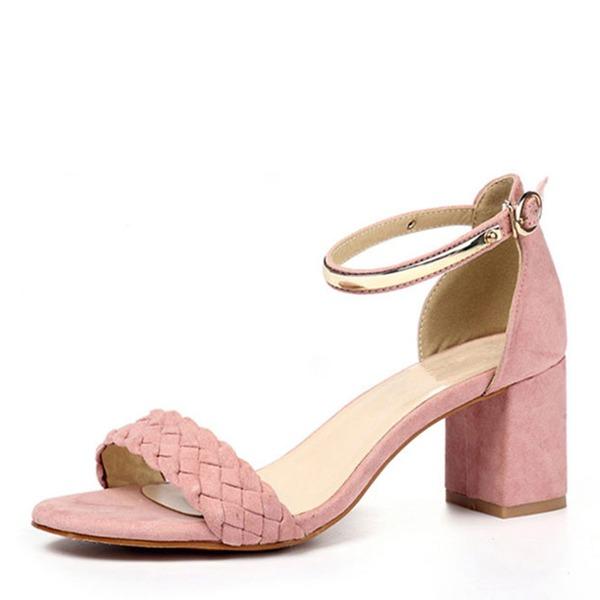 Frauen Veloursleder Stämmiger Absatz Sandalen Absatzschuhe Peep Toe Slingpumps mit Schnalle Geflochtenes Band Schuhe