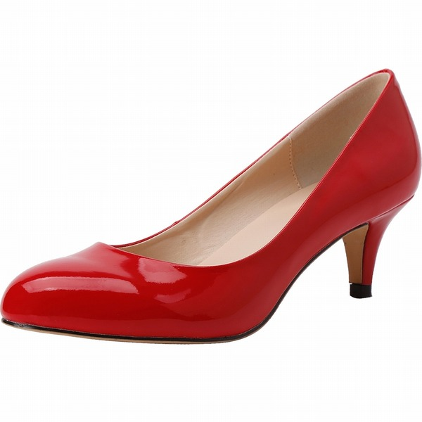 Женщины Лакированная кожа Круглый зауженный каблук На каблуках Закрытый мыс обувь
