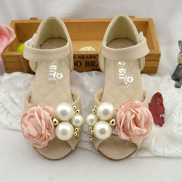 Fille de À bout ouvert similicuir talon plat Sandales Chaussures plates Chaussures de fille de fleur avec Perle d'imitation Fleur en satin Velcro
