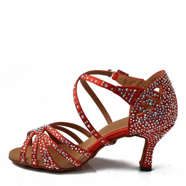 Femmes Satiné Talons Latin avec Strass Chaussures de danse