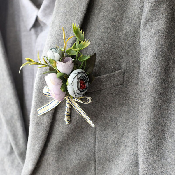 Low-key Silk Flower Boutonniere -