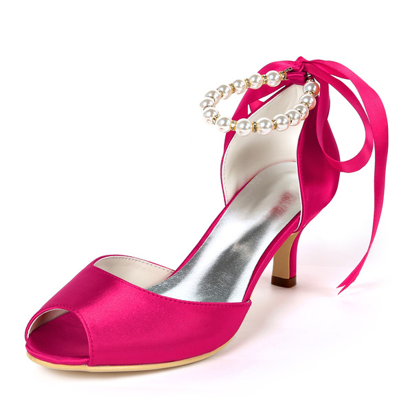 Women's Silk Like Satin Stiletto Heel Peep Toe Pumps With Imitation Pearl Ribbon Tie