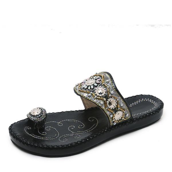 Vrouwen Kunstleer Flat Heel Sandalen Flats Peep Toe Slingbacks met Strass schoenen