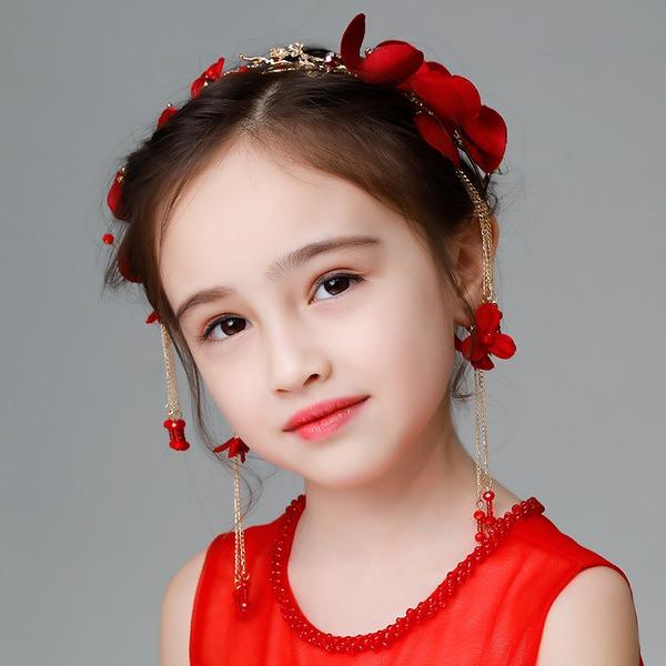 Lapset Muoti Tekojalokivi/Metalliseos/Valetaskua helmi/Silkki kukka Tiarat jossa Tekojalokivi/Venetsialaine Helmi (Myyty yhtenä palana)