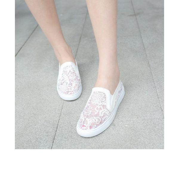 Kadın Dantel Mikrofiber Deri Düz Topuk Daireler Ile Dikiş Danteli ayakkabı
