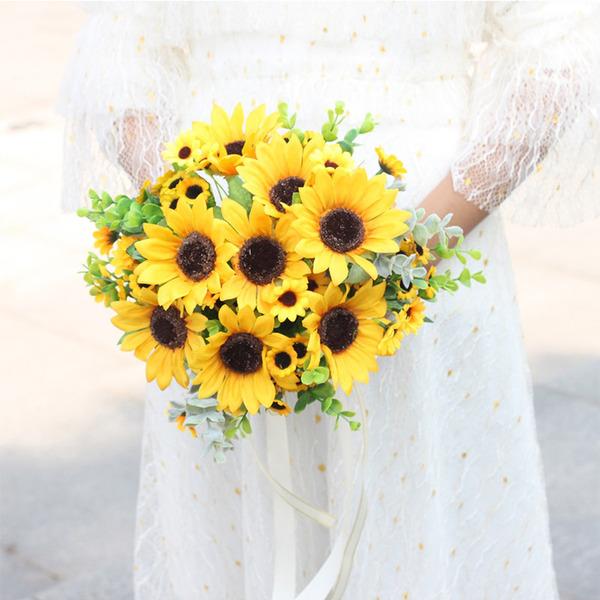Güzel yuvarlak Yapay çiçek Gelin buketleri - Gelin buketleri
