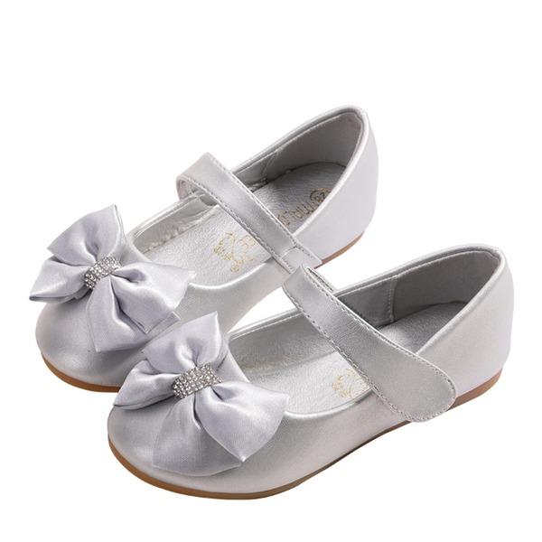Jentas Round Toe Lukket Tå Leather Flate sko med Bowknot Velcro