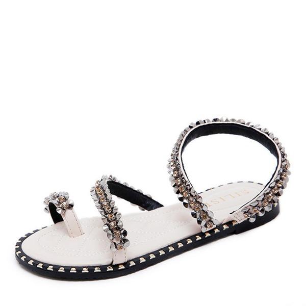 Femmes Similicuir Talon plat Chaussures plates À bout ouvert Sandales Escarpins avec Cristal
