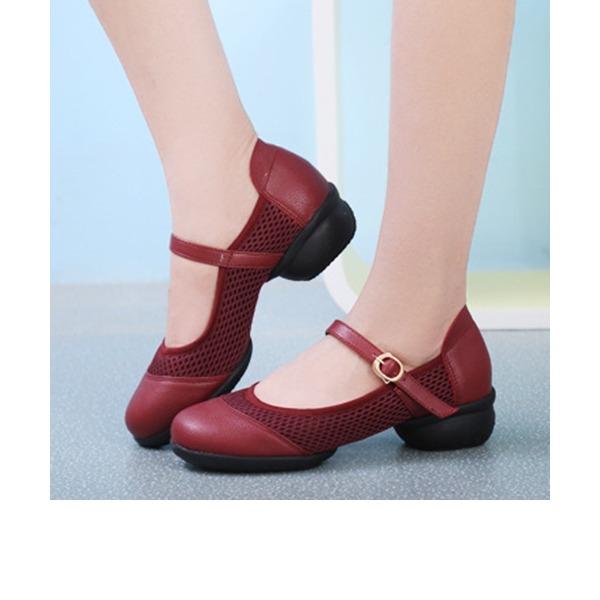 Femmes Vrai cuir Chaussures plates Chaussures de Caractère avec Lanière de cheville Chaussures de danse