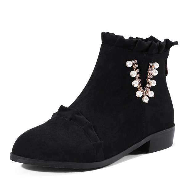 Women's Suede Low Heel Boots Ankle Boots With Imitation Pearl Ruched Zipper shoes
