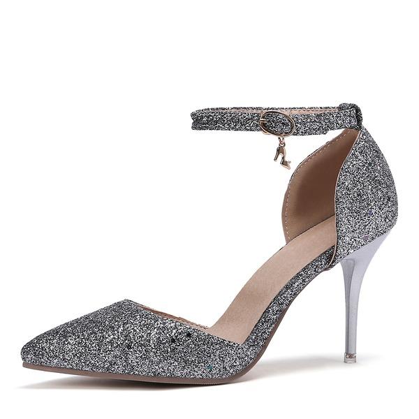 Kvinnor Konstläder Stilettklack Sandaler Pumps Stängt Toe med Paljetter skor
